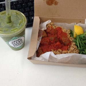 Clean, Green Shake, Meatball Lunchbox
