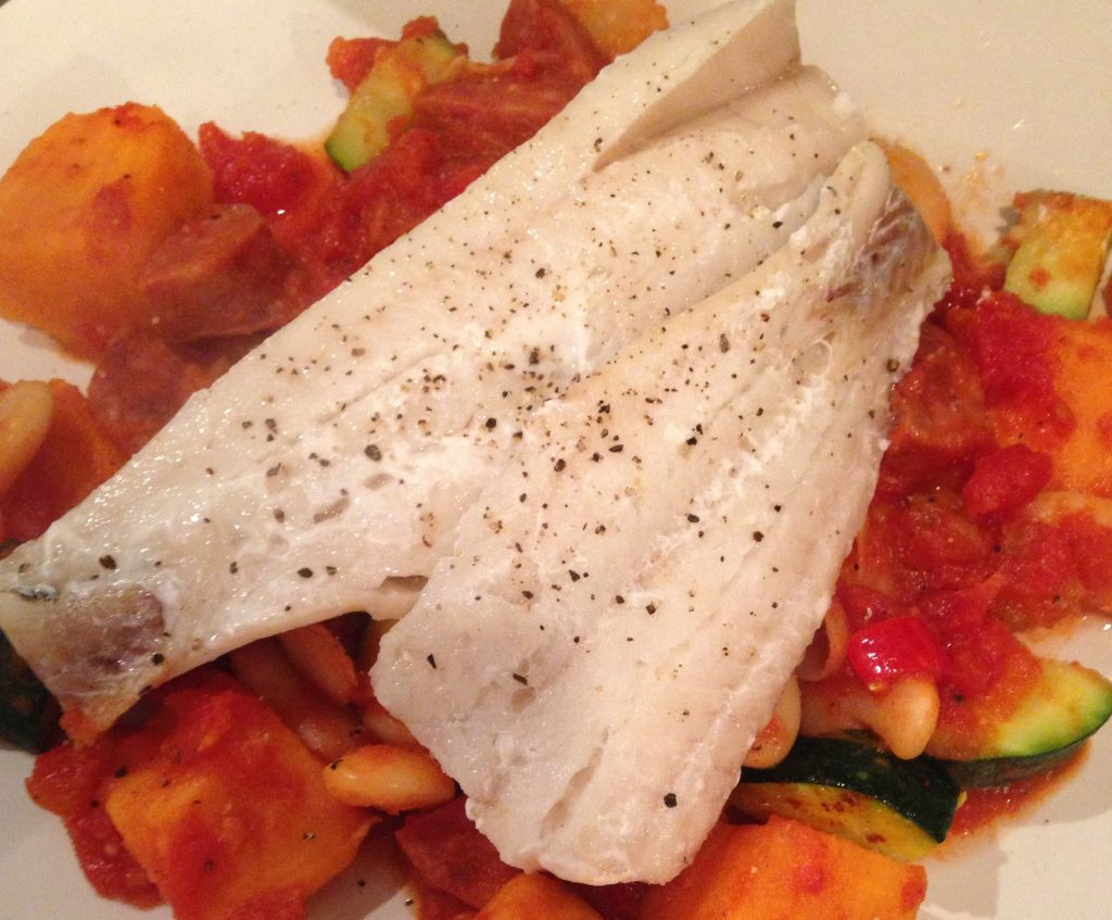 Baked white fish with spanish style vegetable and chorizo for Baked white fish
