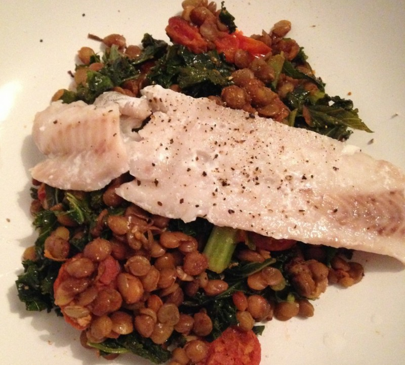 White fish with lentils, chorizo, kale and spinach