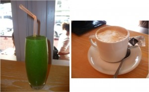 Detox Smoothie and Flat White