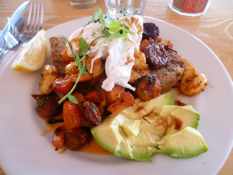King Prawn, Chorizo, Poached Egg and Avo