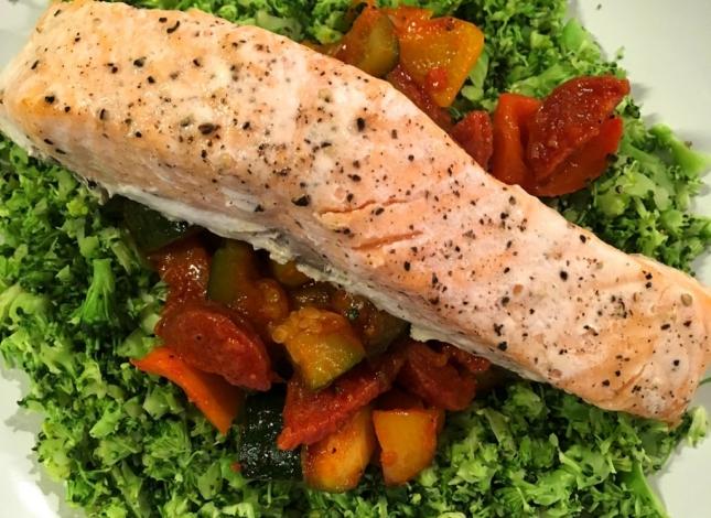 Salmon Broccoli Rice and Ratatouille
