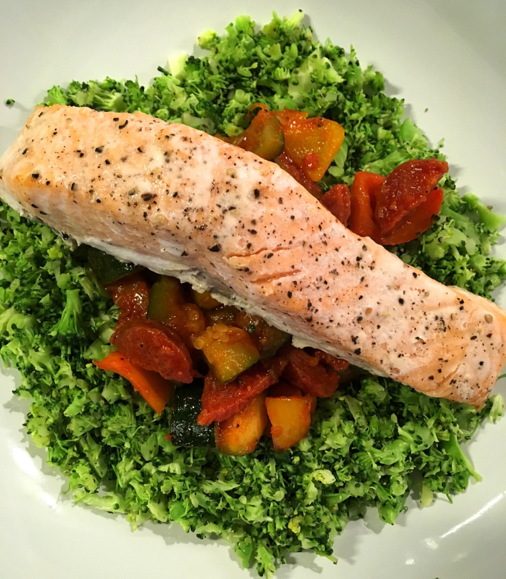 Salmon Broccoli Rice and Ratatouille