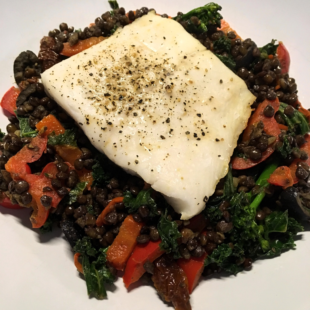 Hake with Puy Lentils, Sundried Tomatoes and Black Olives