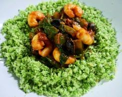 Harissa Prawns with Broccoli Rice