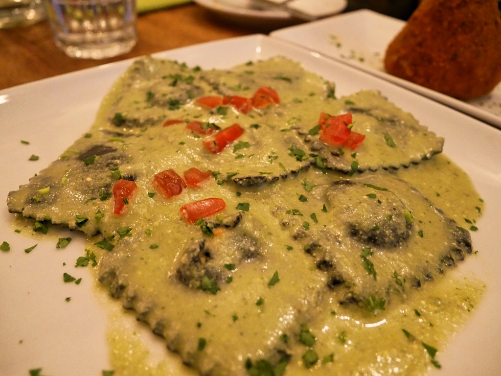 The Black Ink Ravioli with Salmon