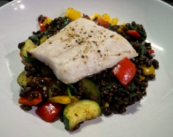 Steamed Haddock with Chilli Garlic Lentils