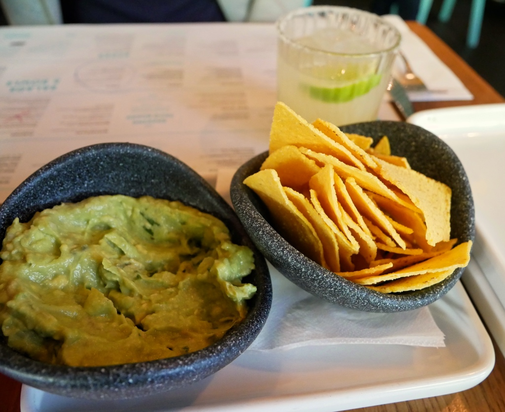 Guac and GF Chips with a Margarita